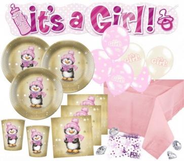 XL 67 Teile Baby Shower Deko Set Pinguin Mädchen in Rosa und Gold 16 Personen