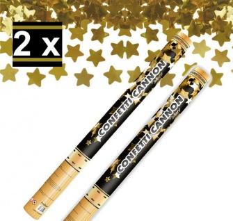 2 x Konfetti Kanone Goldene STERNE 60 cm - Konfetti Shooter Streamer - für Silvester, Hochzeit, Party, Geburtstag