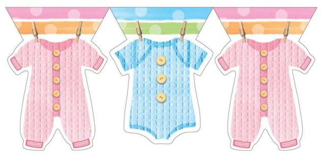 Wimpel Girlande Baby Kleidung