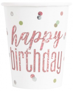 8 Papp Becher Urban Apricot Glitzer Rosegold Happy Birthday