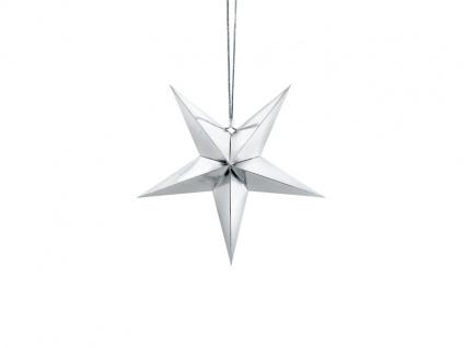 hängender Papier Stern Silber Glanz 30 cm