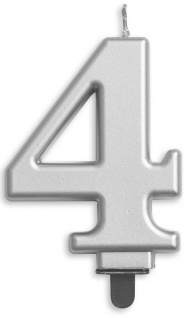 Zahlenkerze in Silber Metallic 4
