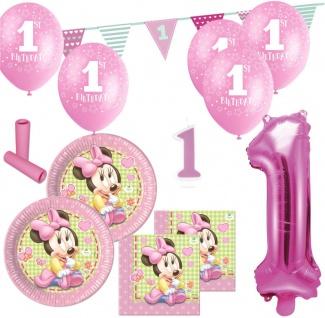 56 Teile 1. Geburtstag Baby Minnie Maus Party Deko Set für 8 Kinder