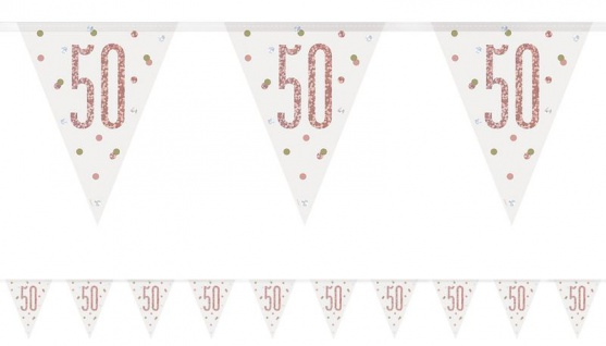 Wimpel Girlande Urban Apricot Glitzer zum 50. Geburtstag