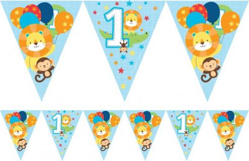 Wimpel Girlande 1. Geburtstag im Zoo Blau