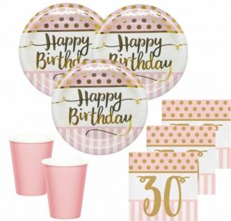 36 Teile Pink Chic Party Deko Set zum 30. Geburtstag in Rosa und Gold Glanz für 8 Personen - Vorschau 1