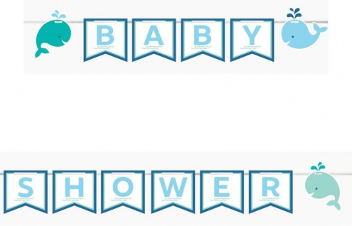 Wimpel Banner am Satinband Happy Baby Wal Party Blau
