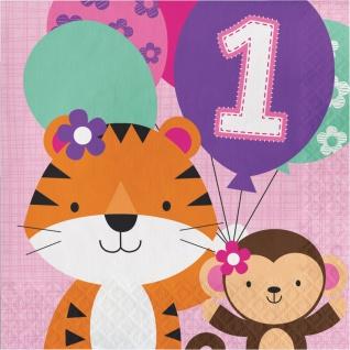 16 Servietten 1. Geburtstag im Zoo Rosa