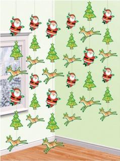 6 Weihnachtsmann Tür und Wand Dekoration Tannenbaum, Nikolaus und Rentier