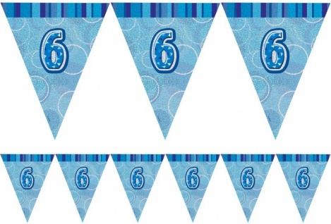 6. Geburtstag Wimpel Girlande Blau