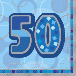 16 Servietten zum 50. Geburtstag in Blau