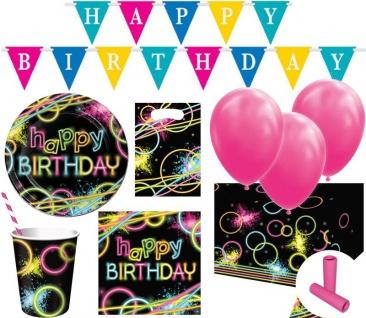 XL 63 Teile Neon Geburtstags Party Deko Set für 8 Kinder