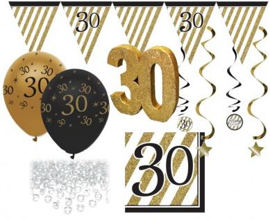 30 Teile Set zum 30. Geburtstag oder Jubiläum - Party Deko in Schwarz & Gold