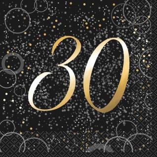 30. Geburtstag 16 Servietten in Schwarz Gold foliert