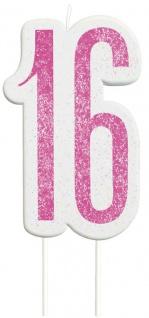 Kuchen Kerze Pink Dots Glitzer zum 16. Geburtstag