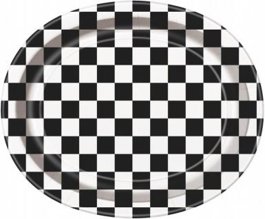 8 große ovale Papp Teller Schwarz Weiß Formel 1 Party