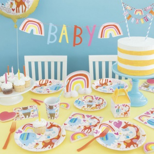 48 Teile Babyshower Baby Zoo Party Deko Set für 16 Personen 5