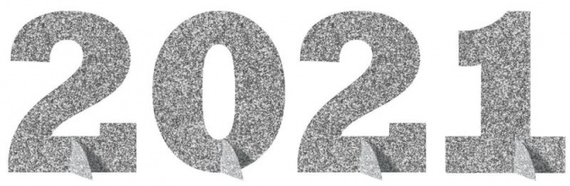 2021 silberner Glitzer Tischaufsteller für die Silvester und Neujahr Party Deko