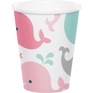 8 Papp Becher Happy Baby Wal Party Pink