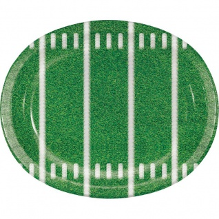 8 große ovale Teller American Football Superbowl Spielfeld