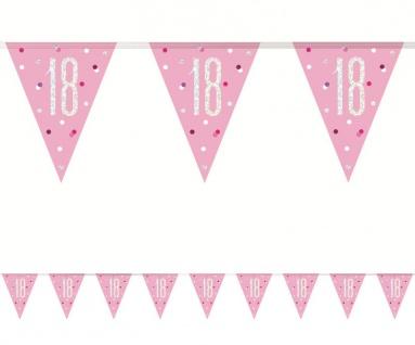 Wimpel Girlande Pink Dots Glitzer zum 18. Geburtstag