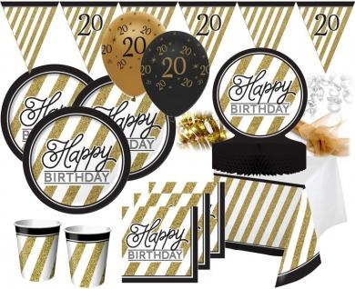 53 Teile Set zum 20. Geburtstag oder Jubiläum - Party Deko in Schwarz & Gold