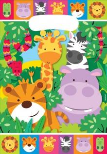 8 Party Tütchen bunte Kinder Safari