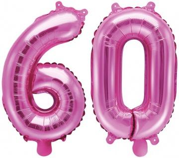 Folienballons Zahl 60 Pink Metallic 35 cm