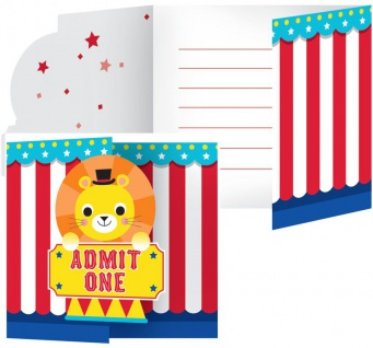 8 Einladungskarten Zirkus Party