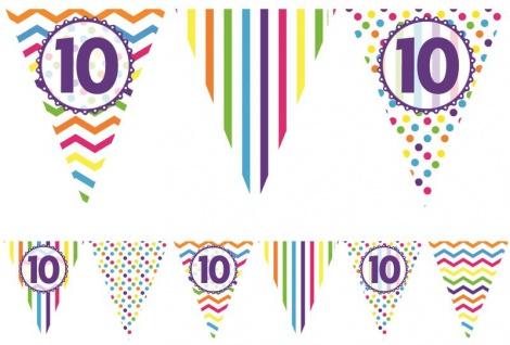 bunte Papier Wimpel Girlande zum 10. Geburtstag 3, 7 Meter