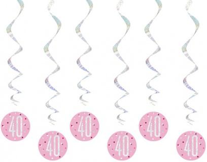 6 hängende Swirl Girlanden Pink Dots Glitzer zum 40. Geburtstag