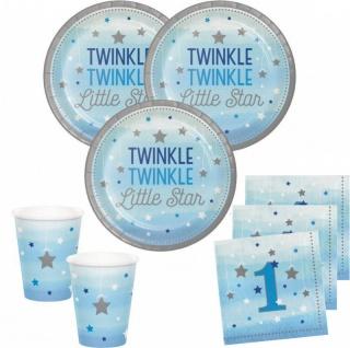 32 Teile Erster Geburtstag Blinke Kleiner Stern Blau Party Deko Set 8 Personen