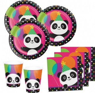 48 Teile Pink Panda Bär Basis Party Deko Set für 16 Personen