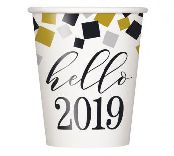 100 Silvester Papp Becher - Hello 2019 - 266 ml - Heiß und Kaltgetränke