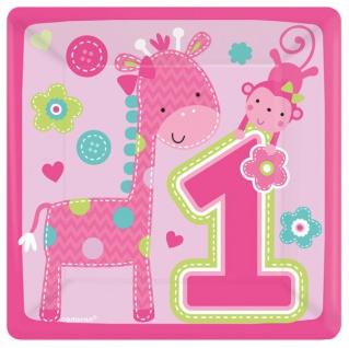 8 kleine Teller Erster Geburtstag Spaß Rosa