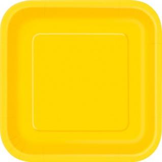 14 quadratische Papp Teller Sonnenblumen Gelb