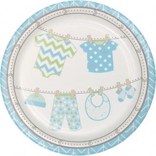 8 Teller Baby Party Pastell Blau