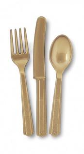 18 Teile Plastik Besteck Gold