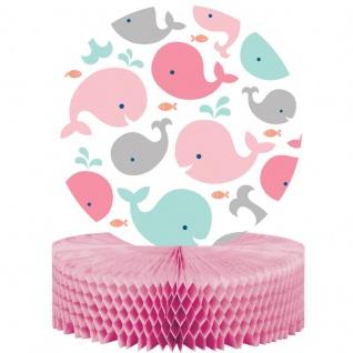 Tischaufsteller Happy Baby Wal Party Pink
