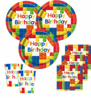 32 Teile Bausteine Geburtstags Party Set für 8 Kinder