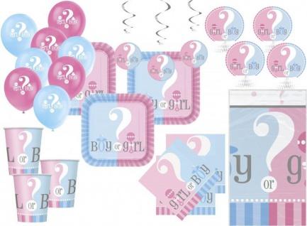 XXL 52 Teile Baby Junge oder Mädchen Party Babyshower Set für 16 Personen
