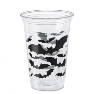 8 große Halloween Plastik Becher schwarze Hexe und Fledermaus 473 ml
