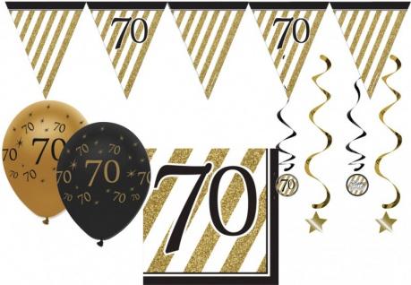 34 Teile Dekorations Set zum 70. Geburtstag oder Jubiläum - Party Deko in Schwarz & Gold