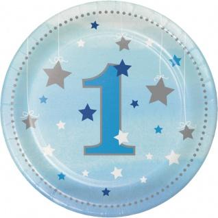 8 kleine Papp Teller blinke kleiner Stern zum 1. Geburtstag in Blau