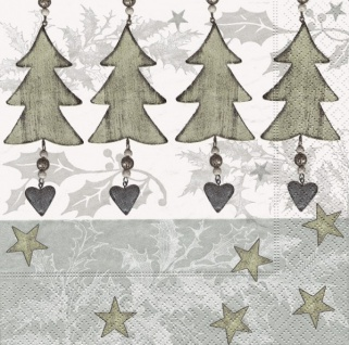 20 Weihnachts Servietten silberne Weihnachtsbaum Pendel