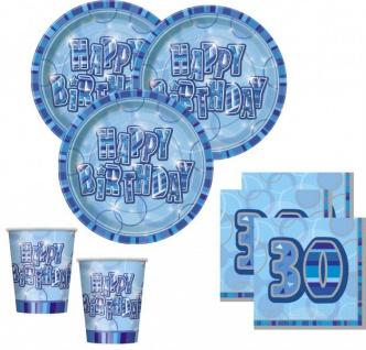 48 Teile zum 30. Geburtstag Party Set in Blau für 16 Personen