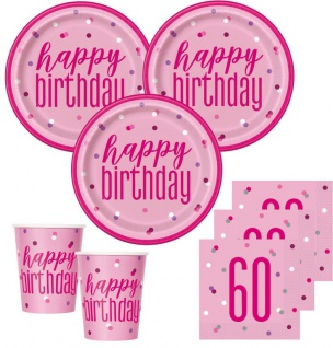 48 Teile 60. Geburtstag Pink Dots Party Set 16 Personen