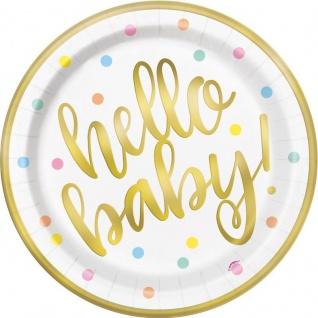 32 Teile Hello Baby Babyshower 2019 Party Deko Set Gold foliert für 8 Personen - Vorschau 2