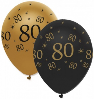 6 Luftballons 80. Geburtstag Black and Gold