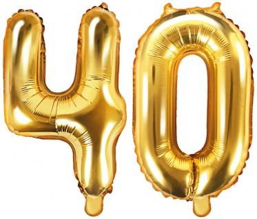 Folienballons Zahl 40 Gold Metallic 35 cm